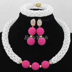 White Crystal Bridal Jewelry Sets African Jewelry Beads Nigerian Wedding African Beads Jewelry Set Christmas Gift AIJ539