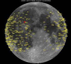 L'immagine diffusa dalla Nasa riguarda la Luna gli attacchi subiti (dal 2005 al 2013 se ne contano 300) dai meteoriti. Il 17 marzo, secondo le informazioni fornite dal centro spaziale (che ha diffuso la nota sul fenomeno solo venerdì 17 maggio), l'impatto più forte finora registrato ch