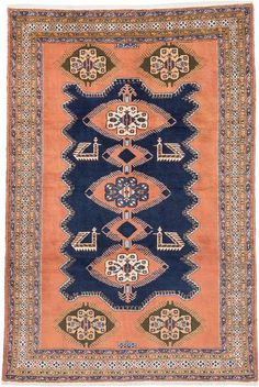 Hand-knotted Ardabil Copper, Dark Navy Wool Rug