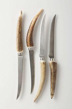 """Naturally shed deer antlers, steel "" Staghorn Steak Knives from anthropologie Scott Hansen, Pocket Knife Brands, Best Pocket Knife, Knife Stand, Shed Antlers, Engraved Pocket Knives, Antler Art, Kitchenware, Tableware"