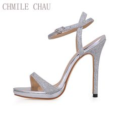 f731c347ef CHMILE CHAU Glitter Elegant Bridal Women Shoes Stiletto High Heel Ankle  Strap Platform Sandal Plus Size Zapatos Mujer 0640ASL-A4. TOP DEALS · HIGH  HEELS