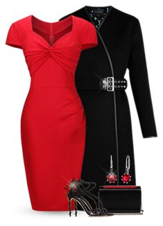 """""""Red Body Con Dress"""" by majezy ❤ liked on Polyvore featuring WithChic, Christian Louboutin, Dolce&Gabbana and Lesa Michelle"""
