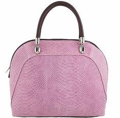 Pink Leather Handbag Etasico Catrina Snakeskin Python Print Italian Bag.