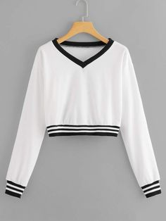 Shop V Neck Striped Sweatshirt online. SHEIN offers V Neck Striped Sweatshirt & more to fit your fashionable needs. Girls Fashion Clothes, Teen Fashion Outfits, Girl Fashion, Crop Top Outfits, Cute Casual Outfits, Crop Top Hoodie, Mein Style, Cute Crop Tops, Cool Hoodies