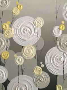 Yellow Gray and White Textured Flower Art by MurrayDesignShop