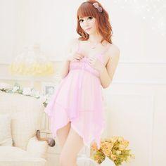 Goods.Site - Sexy Women Pajamas Transparent Gauze Belt Skirt+ Ding G-string Nightgowns Sleepshirts Free Shipping