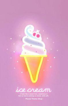 Neon Cute Ice Cream Wallpaper