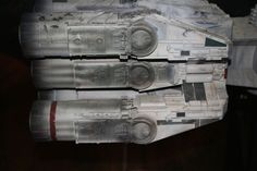 """The first ship ever seen in """"Star Wars,"""" the rebel blockade runner, Tantive IV was originally built to be the Millennium Falcon. With some minor adjustments (like switching the already designed cockpit to the hammerhead version) it became Leia's ship. #starwars #tantiveiv #rebelblockaderunner #studiomodels #behindthescenes"""