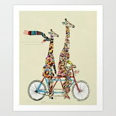 giraffe days lets tandem Art Print by bri.buckley - $23.00