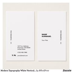 Shop Modern Typography White Vertical Business Card created by AffordPrint. Business Cards Layout, Vertical Business Cards, Minimalist Business Cards, Modern Business Cards, Letterpress Business Cards, Logos Vintage, Vintage Graphic, Logos Photography, Web Design