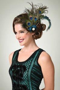 20s Bernice Peacock Feather Hair Clip