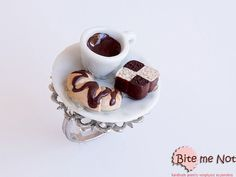 Food Jewelry Coffee Croissant and Cake Ring Miniature by BiteMeNot