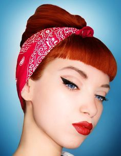 Girl with a Red hair up do with bangs  amp  wearing a red bandana Rockabilly a4ab8c16bb5