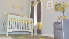 A Trendy #YellowandGray DIY Nursery on a Budget