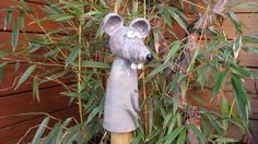 Gartenfiguren - Keramik Maus Zaunhocker, Pfostenhocker - ein Designerstück von SelfmadeKeramik bei DaWanda