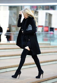 whole outfit, boots are awesome, jacket beautiful, dress just the right length