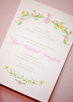 Pineapple and Floral Invitation
