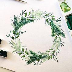 Likes, 40 Comments - Illustration Sharing Page ( on Instag. Likes, 40 Wreath Watercolor, Watercolor Cards, Watercolor Flowers, Watercolor Paintings, Watercolors, Wreath Drawing, Painting & Drawing, Illustration Blume, Instagram Artist