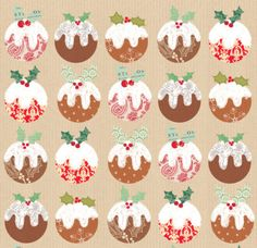 Louise Anglicas - LAS_christmas Puddings On Craft Holly Pattern