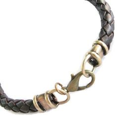 Leather Necklace 4mm Antiqued Brass Fancy Ends Braided Leather Necklace Available in many sizes