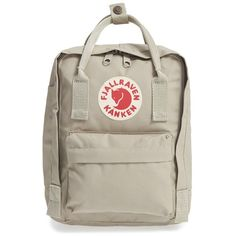 Women's Fjallraven 'Mini Kanken' Water Resistant Backpack ($60) ❤ liked on Polyvore featuring bags, backpacks, putty, daypack bag, rucksack bags, knapsack bag, brown bag and brown backpacks