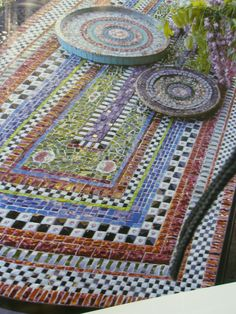 mosaic - would be a cool outdoor table for home or brewery!