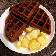 Chocolate Belgian Waffles! Full Recipe on the blog!