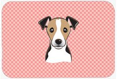 Checkerboard Pink Jack Russell Terrier Mouse Pad - Hot Pad or Trivet BB1261MP #artwork #artworks