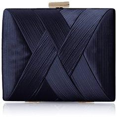 La Regale Satin Criss Cross Clutch ($37) ❤ liked on Polyvore featuring bags, handbags, clutches, purses, la regale, satin purse, blue purse, satin handbags and la regale purse