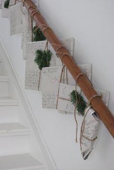 wrapped & tied to banister