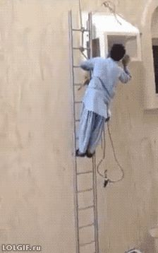 The application for this job stated ( must have a head for heights !! ) This clip shows why that attribute was needing highlighted !!! ( not so much touching up paintwork, note touched in the head / sandwich short of a picnic !! ) ps there isn't even someone holding the ladder at the bottom !! = Health and safety isn't a consideration in India
