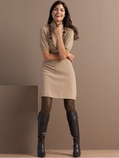 Tan sweater dress with dark gray/black boots/tights/accesories