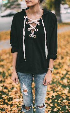 The lace up trend is one of our favorites to date. The sporty yet chic elements of our Lace Up Hoodie is to die for. Pair our Lace Up Hoodie with jeans and boot Ily Couture, Autumn Winter Fashion, Fall Fashion, Black Hoodie, Jeans And Boots, Lace Up, Sporty, Pairs, Hoodies