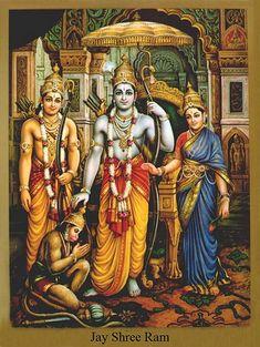 Lord Rama is the seventh avatar of Lord Vishnu and one of the main deities in Hinduism, Here is a collection of Lord Rama images with Sita & HD wallpapers. Deus Vishnu, Lord Sri Rama, Hanuman Photos, Hanuman Images, Krishna Images, Lord Rama Images, Ram Hanuman, Ram Image, Raja Ravi Varma