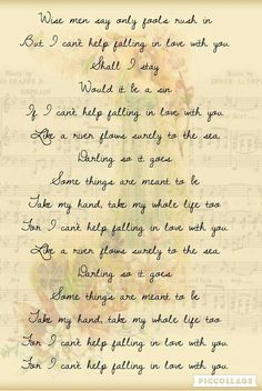 I can't help falling in love with you lyrics by Francis Plotke