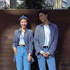 Korean Street Fashion for Couple Outfit - Nona Gaya Matching Couple Outfits, Matching Couples, Cute Couples, Korean Street Fashion, Korea Fashion, Outfits For Teens, Cute Outfits, Rock Outfits, Edgy Outfits