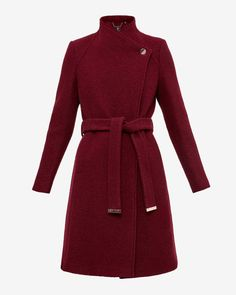 Long wrap wool coat - Oxblood | Jackets & Coats | Ted Baker UK