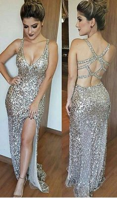 Luxurious Mermaid Long Prom Dress with Side Slit Evening Dress, Deep V-Neck Open Back Split Floor Length Beading Prom Dress, Silver Sequins Prom Dresses, Sexy Backless Prom Dress