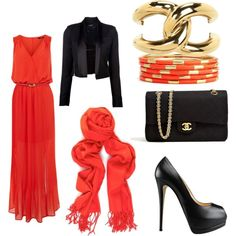 red black gold with hijab by rizka-habsyi on Polyvore