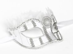 White And Silver Masquerade Mask Fabric Covered by SOFFITTA