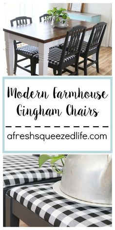 A fresh coat of paint and new seat covers made these yard-sale chairs perfect! You will love these modern farmhouse chairs! Let me share my DIY process with you! Dining Table Chairs, Kitchen Chairs, Kitchen Decor, Kitchen Ideas, Kitchen Nook, Farmhouse Chairs, Modern Farmhouse, Farmhouse Decor, Rustic Decor
