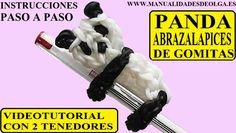 COMO HACER UN PANDA ABRAZALAPICES DE GOMITAS CON DOS TENEDORES. VIDEO TU...