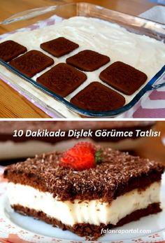 Toothy Görüm Dessert in 10 Minutes - Tatlı Tarifleri - Dessert Pasta Recipes, Cake Recipes, Snack Recipes, Dessert Recipes, Cooking Recipes, Snacks, Pasta Cake, Chocolate Turtles, Cupcakes