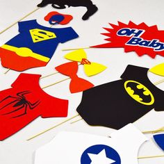 Superhero baby shower props photobooth superhero by LeStudioRose