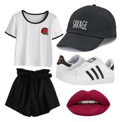 """""""Sans titre #4"""" by abazineaaliyah on Polyvore featuring mode, adidas, SO et Huda Beauty"""