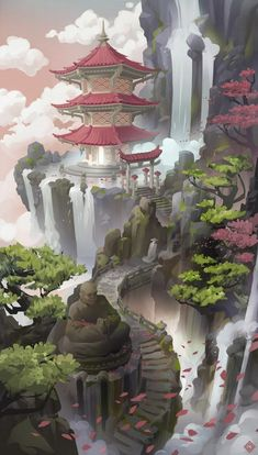Fantasy City, Fantasy Kunst, Fantasy Places, Fantasy World, Fantasy Concept Art, Fantasy Artwork, Fantasy Art Landscapes, Landscape Art, Japon Illustration