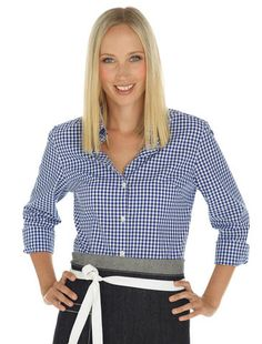 Cargo Crew - Women's Frankie Gingham Check Shirt - Blue - Online Uniform Shop Australia