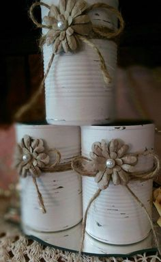 Shabby Chic Painted White Tin Can Jute Paper Flower Pearl Rustic Country Wedding Centerpieces Home Decor Gift READY TO SHIP In Stock Description: This is for one can. Handpainted white distressed shabby chic tin cans. Perfect to plant seedlings, pencils, Rustic Table Centerpieces, Country Wedding Centerpieces, Country Barn Weddings, Centerpiece Decorations, Wedding Rustic, Wedding Country, Shower Centerpieces, Trendy Wedding, Wedding Simple