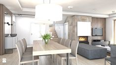 dom jednorodzinny Żyrardów - Średnia otwarta jadalnia w salonie, styl nowoczesny - zdjęcie od A2 STUDIO pracownia architektury