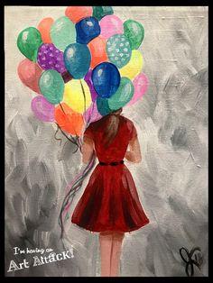 Home - Art Attack Paint Party Balloon Illustration, Illustration Art Drawing, Dark Drawings, Cute Drawings, Painting Of Girl, Pour Painting, Balloon Painting, Its A Girl Balloons, Umbrella Art